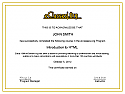 Completion Certificate - Introduction to XHTML